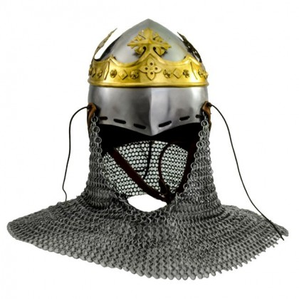 Robert Bruce Bascinet Helmet wth Chainmail andwith brass crown