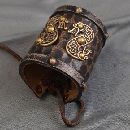 Leather Celtic Cuff (Double SIded Dragon) Small-Single