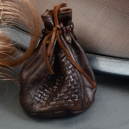 Viking Leather Coin Pouch w/weaved design