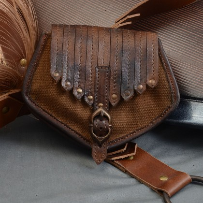 Viking Inspired Leather Canvas Bag